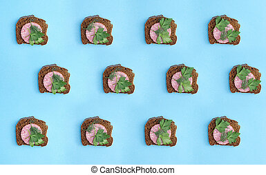 Collage and background of sandwiches with sausage
