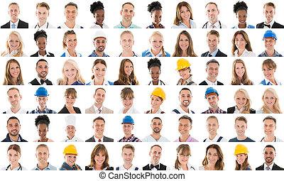 collage, anders, beroep, mensen
