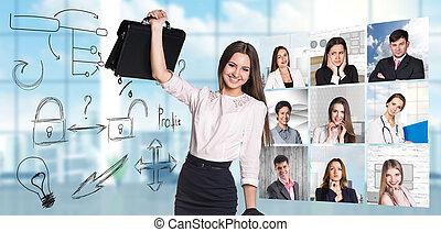 collage, anders, beroepen, mensen