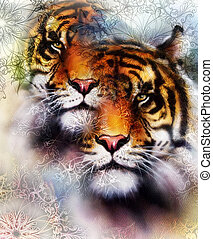 collage, animals., black , bruine , fauna, achtergrond, color., abstract, sinaasappel, tiger, witte , kleur, ornamet, mandala