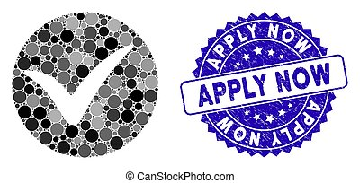 Collage Apply Icon with Grunge Apply Now Stamp
