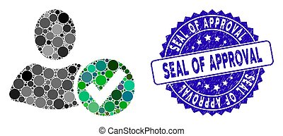 Collage Apply User Icon with Grunge Seal of Approval Stamp