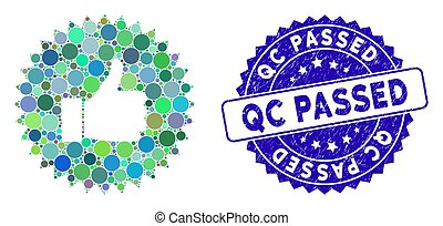 Collage Approval Rosette Icon with Scratched Qc Passed Stamp