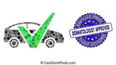 Collage Approved Car Icon with Grunge Dermatologist Approved Stamp