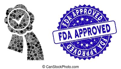 Collage Approved Seal Icon with Scratched FDA Approved Stamp
