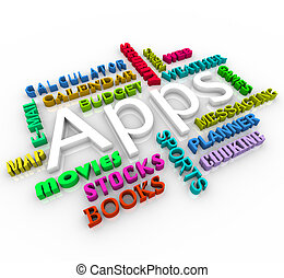 collage, apps, -, mot, application