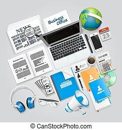 collage, articoli, affari