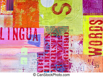 collage artwork - abstract artwork with writing, artwork is...