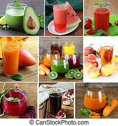 collage assorted fresh juices