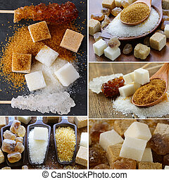 collage assortment of sugar