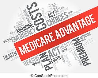 collage, assurance-maladie, mot, avantage, nuage