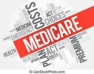 collage, assurance-maladie, mot, nuage