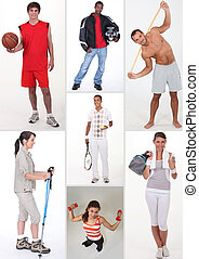 collage, atletico, persone