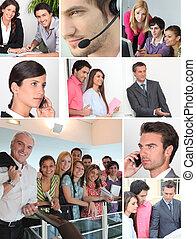 collage, ausstellung, büroangestellte