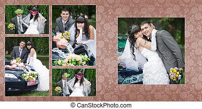 collage, auto, bruidegom, -, bruid, trouwfeest