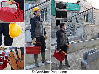 collage, av, a, anläggningsarbetare