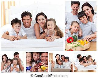 collage, av, a, familj, spenderande, tid, tillsammans, hemma