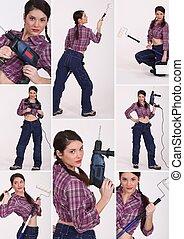 collage, av, a, kvinnlig, anläggningsarbetare
