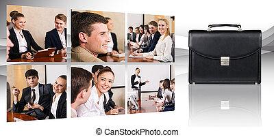 collage, av, affärsfolk