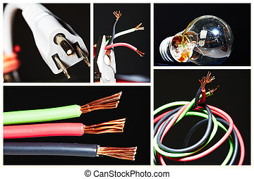 collage, av, elektrisk, instruments.