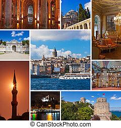 collage, av, istanbul, turkiet, avbildar