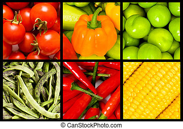 collage, av, många, frukter och vegetables