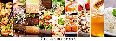 collage, av, mat alstrar