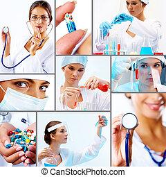 collage, av, medicin