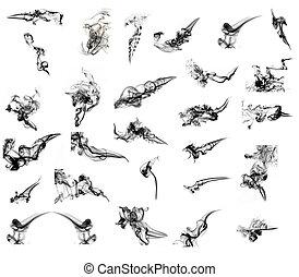 collage, av, mer, än, 25, svart, abstrakt, röka, buktar