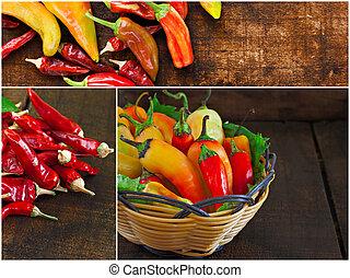 collage, av, olika, chili peppar