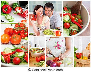 collage, av, olika, grönsaken