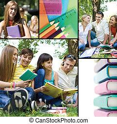 collage, av, utbildning