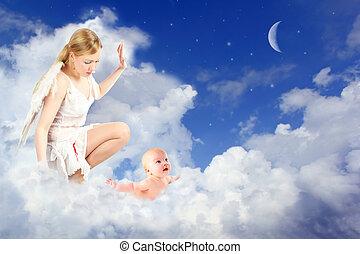 collage, bébé, femme, nuages, ange