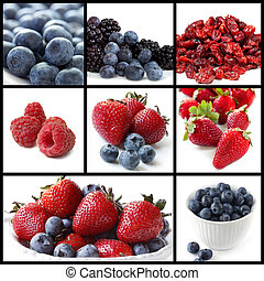 collage, baie, fruits