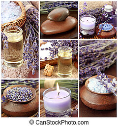 collage, balneario, lavanda