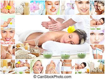 collage, balneario, masaje, fondo.