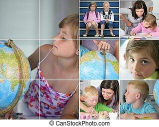collage, bambini, compito