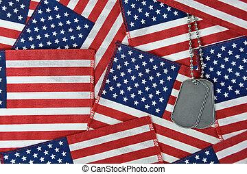 collage, bandiera americana, cane, etichette