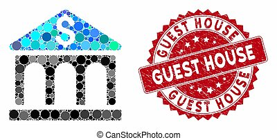 Collage Bank Building with Grunge Guest House Stamp - ...