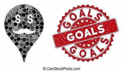 Collage Banker Smiley Map Marker with Grunge Goals Stamp