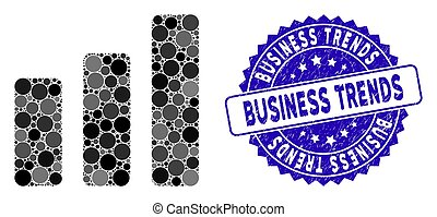 Collage Bar Chart Increase Icon with Distress Business Trends Stamp