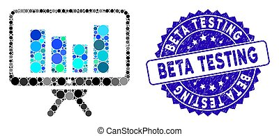 Collage Bar Chart Monitoring Icon with Distress Beta Testing Seal