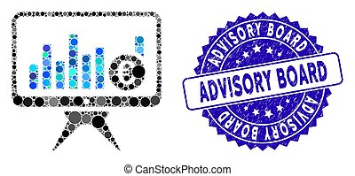 Collage Bar Chart Monitoring Icon with Grunge Advisory Board Stamp