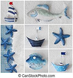 collage, bateaux, étoiles, mer