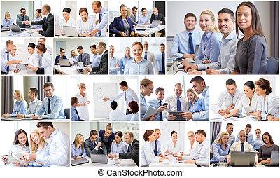 collage, beaucoup, bureau affaires, gens