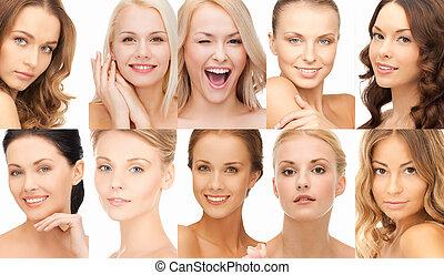 collage, beaucoup, femmes, heureux, faces