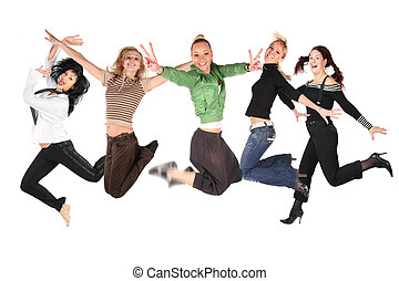 collage, beaucoup, sauter, filles, blanc