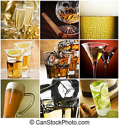 Collage - Beautiful alcohol collage made from nine photos