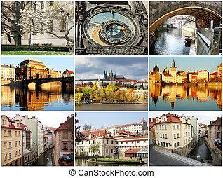 Collage beautiful Prague