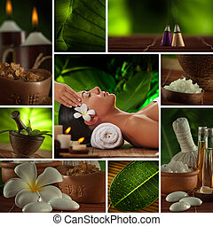 collage, bedaard, thema, o, foto, spa